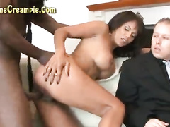 Cuckold wife gets bred by bbc as cuck wathes