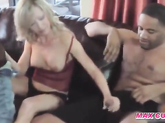 Blond-haired wife gets gang-banged by black studs